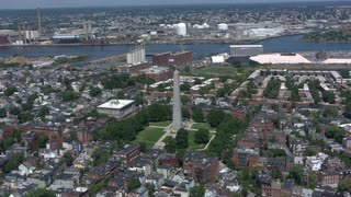 Aerial Flyover And Zoom-in Bunker Hill, Boston