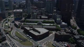 Aerial Flyover Faneuil Hall And Downtown Boston