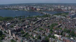 Aerial Flyover Longfellow Bridge, Boston