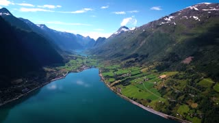Aerial footage Beautiful Nature Norway. Flying over the lakes and fjords.View from the bird's-eye view.