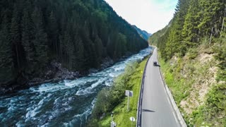 Aerial footage road in Norway. Beautiful Nature Norway