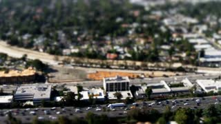 Aerial Freeway Traffic Tilt Shift