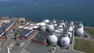 Aerial Glide Over Water Treatment Plant, Boston Harbor