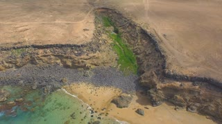 AERIAL: Green oasis in the middle of rocky ocean cliff