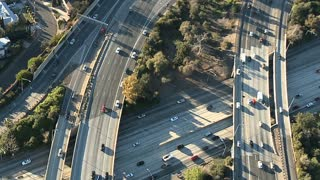 Aerial Highway Overpass Traffic