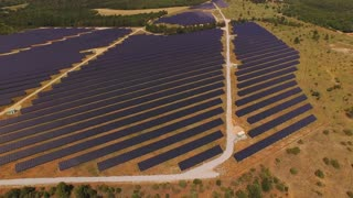 AERIAL: Huge power plant using renewable solar energy with sun