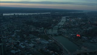 Aerial Manhattan Bridge Landscape at Dusk 2