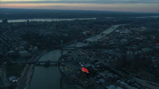 Aerial Manhattan Bridge Landscape at Dusk 3