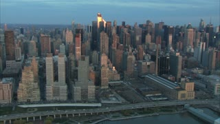 Aerial Midtown Manhattan Dawn