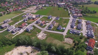 AERIAL: New modern houses in suburbia