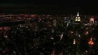 Aerial Night View of NYC Skyline ad Empire State Building