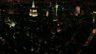 Aerial Night View Panning Away from Empire State Building
