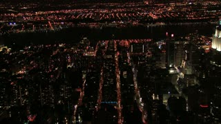 Aerial Night View Passing the Empire State Building