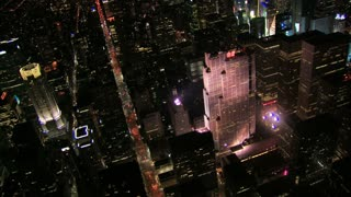 Aerial NYC Approaching Times Square