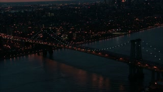 Aerial NYC Williamsburg Bridge at Dusk