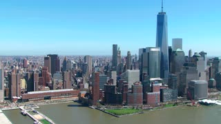 Aerial of Freedom Tower and New York Skyline