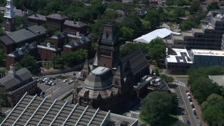 Aerial Pull Out From Close Up On Sanders Theater, Harvard University, Boston, Massachusetts