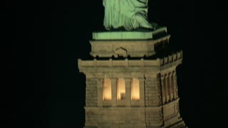 Aerial Scanning the Statue of Liberty at Night