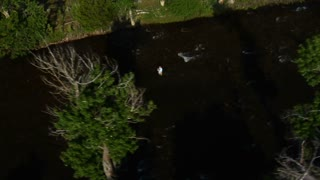 Aerial Shot Of A Fly Fisherman In River
