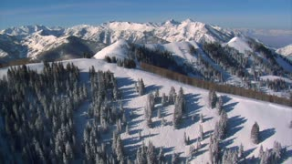 Aerial Shot Of Big And Little Cottonwood Canyons Utah