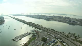 Aerial Shot of Boat Marina in Miami