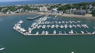 Aerial Shot Of Boston Area Marina