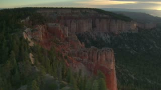Aerial Shot Of Bryce Canyon National Park Above Cliffs And Forest