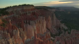 Aerial Shot Of Bryce Canyon National Park Above Cliffs And Valley