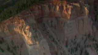 Aerial Shot Of Bryce Canyon National Park Circle Forested Cliff Face