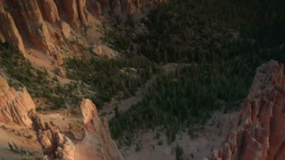 Aerial Shot Of Bryce Canyon National Park Looking Down Into Forest In Canyon