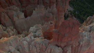 Aerial Shot Of Bryce Canyon National Park Looking Down Into Red Spires