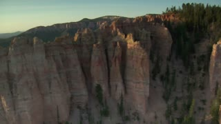 Aerial Shot Of Bryce Canyon National Park Looking Down On Cliff