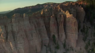 Aerial Shot Of Bryce Canyon National Park Pass Over Rugged Cliffs
