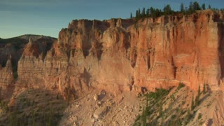 Aerial Shot Of Bryce Canyon National Park Wobbling Toward Cliff