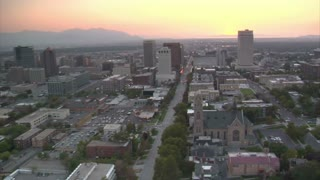 Aerial Shot Of Downtown Salt Lake City, Sunset, And Cathedral