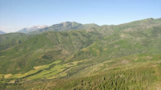 Aerial Shot Of Green Forest And Mountains And Meadow