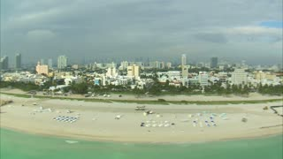 Aerial Shot of Hotels and a Miami Beach