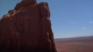 Aerial Shot Of Monument Valley Mitten Close Up