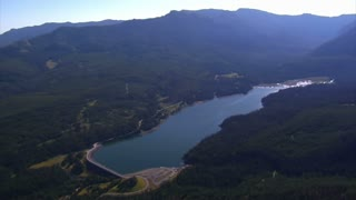 Aerial Shot Of Mountain Lake
