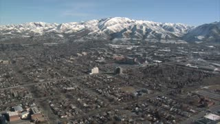 Aerial Shot Of Salt Lake City In Winter