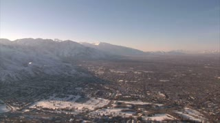 Aerial Shot Of Salt Lake Valley In Winter
