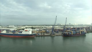 Aerial Shot of Shipping Yard in Miami
