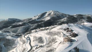Aerial Shot Of Ski Area And Luxury Homes