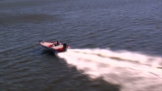 Aerial Shot Of Speed Boat From Above