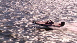 Aerial Shot Of Speed Boat From Side
