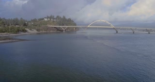 Aerial Shot of the Alsea Bay Bridge in Oregon