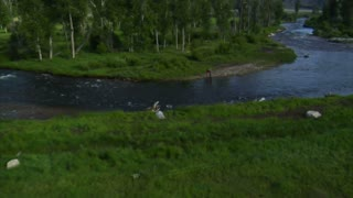 Aerial Shot Of Two Fly Fisherman