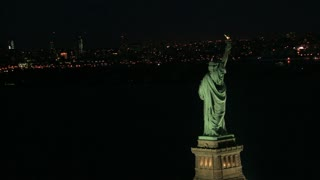 Aerial Slow Circle Around Statue of Liberty and NYC