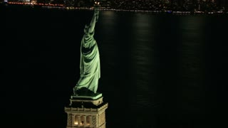 Aerial Slow Zoom to Statue of Liberty Book