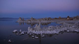AERIAL: Stunning tufas formations rising up above Mono lake water
